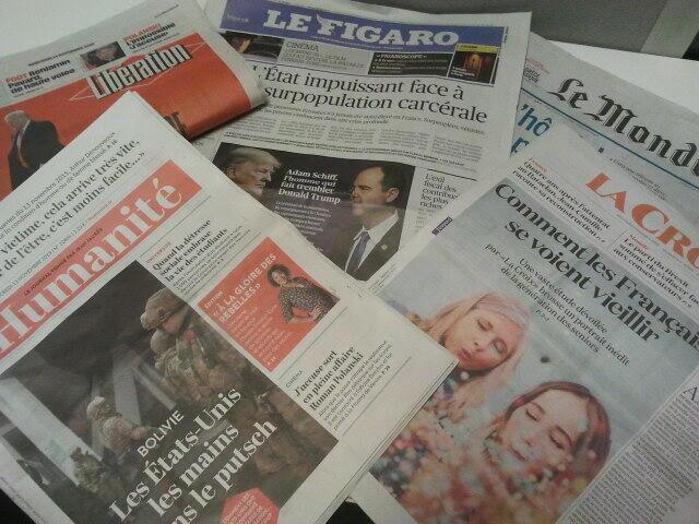 Primeiras páginas dos jornais franceses de 13 de novembro de 2019
