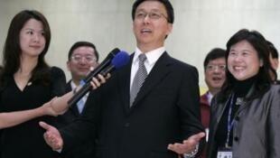上海市長韓正訪問台北時接受媒體採訪