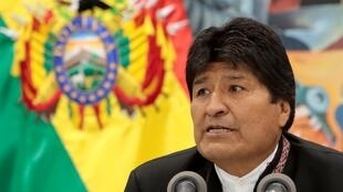 Former Bolivian President Evo Morales gives a press conference in October, 2019.