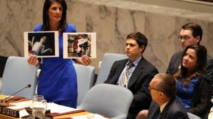 Bà đại sứ Mỹ tại Liên Hiệp Quốc Niki Haley trưng ảnh nạn nhân trong cuộc tấn công bằng vũ khí hóa học tại Syria trước Hội Đồng Bảo An Liên Hiệp Quốc  ngày 05/04/2017.