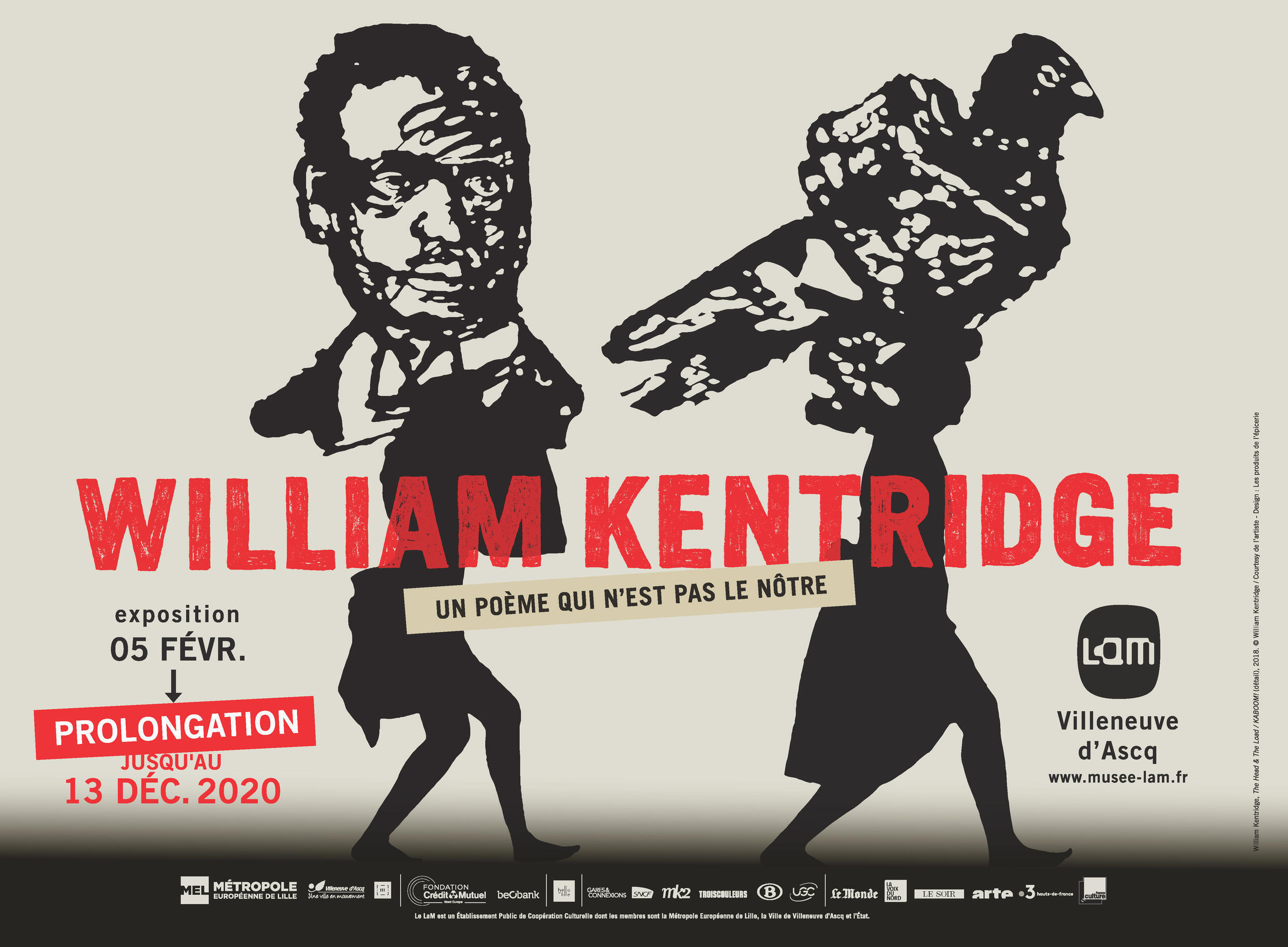 Poster for retrospective of South African artist William Kentridge at the Lille Museum of Modern, Contemporary and Outsider Art (LaM), June 2020.