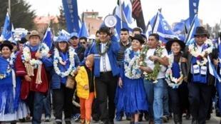 Evo Morales en campagne électorale au milieu de ses partisans. Le 5 octobre 2019.