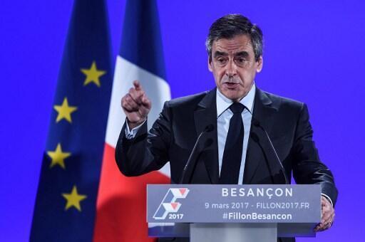 Ông François Fillon trong cuộc mít tinh vận động tranh cử tại Besançon, Doubs, Pháp, ngày 09/03/2017