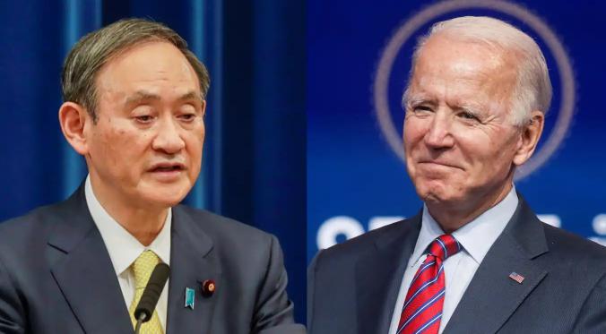 日本首相菅義偉和美國總統拜登資料圖片