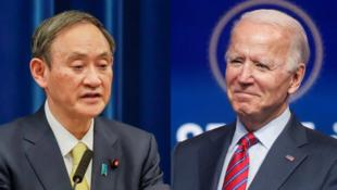 日本首相菅义伟和美国总统拜登资料图片