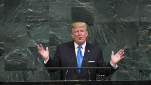 Donald Trump na tribuna da Assembleia Geral da ONU, em Nova York, 19/09/17.