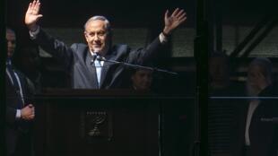 El primer ministro israelí, Benjamín Netanyahu, pronuncia un discurso en la plaza Rabin de Tel Aviv, 15 de marzo de 2015.