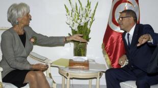 Christine Lagarde, directrice du FMI et Habib Essid, Premier Ministre tunisien le 8 septembre 2015 à Tunis.