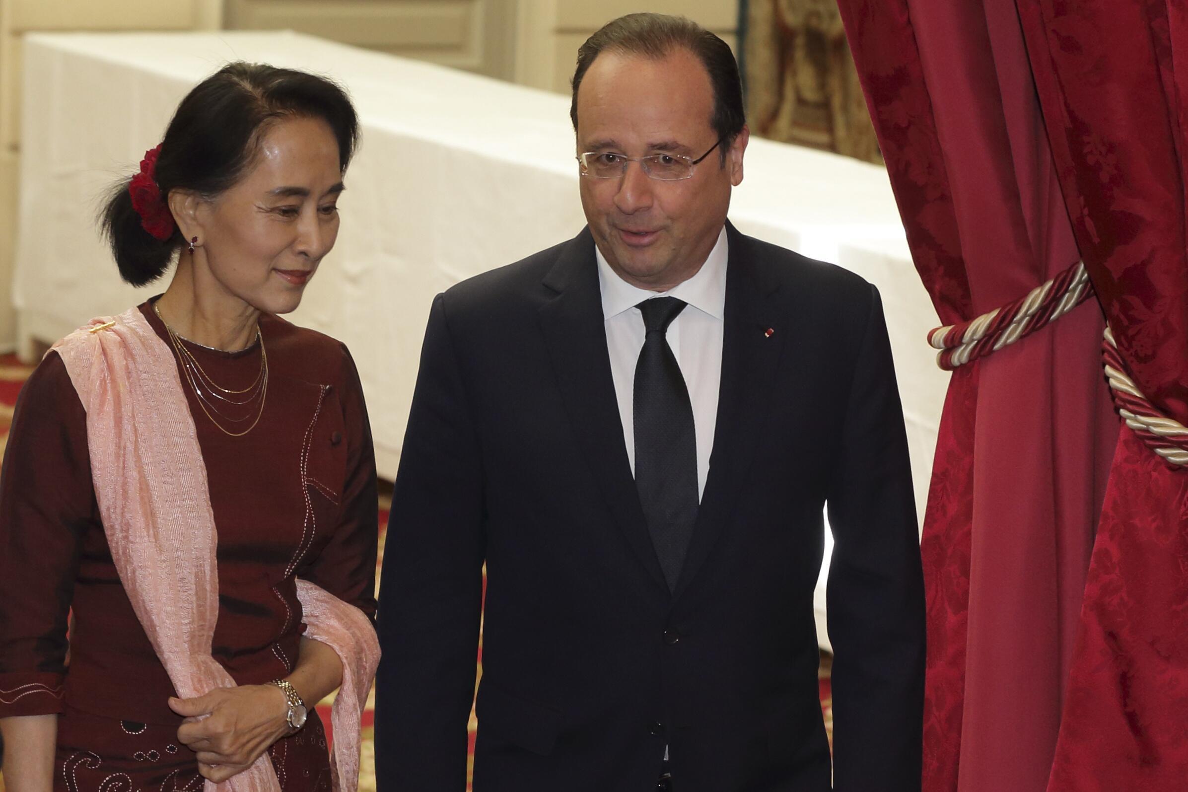 Tổng thống Pháp tiếp nhà đối lập Miến Điện. Ảnh chụp ngày 15/04/2014.