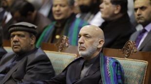 Le président afghan Hamid Karzaï le dernier jour de la Loya Jirga, à Kaboul le 24 novembre 2013.