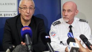 Ajaccio's prosecutor Eric Bouillard (L) and Departemental Director of Public Safety (DDSP) Patrice Vaiente (R) at a press conferrence in Ajaccio on Sunday