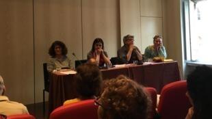 Maria José Malheiros, Silvia Capanema, Éric Coquerel e Carla Sanfelici no lançamento do Coletivo Solidariedade França Brasil.