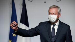 9月28日在爱丽舍宫公布2021年预算的法国经济部长勒梅尔