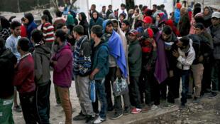 Distribution de nourriture aux réfugiés sur l'île de Lesbos, en 2015.