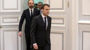 Le président Emmanuel Macron et le Premier ministre Edouard Philippe, le 23 mars 2018 à Paris.