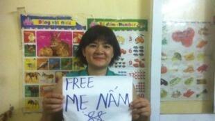 Bà Trần Thị Nga từng phản đối vụ bắt giữ blogger Mẹ Nấm vào tháng 10/2016.