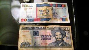 Billets de 20 pesos convertibles et de 20 pesos cubains.