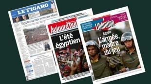 Capa dos jornais franceses Le Figaro, Aujourd'hui en France et Libération desta quinta-feira, 04.