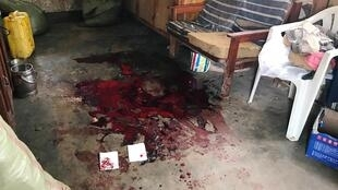 Blood stain is seen inside a house of the Pygmy ethnic group after an overnight attack in Mbau village near Beni in the eastern Democratic Republic of Congo November 16, 2019.