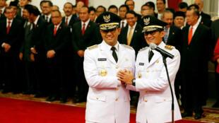 Anies Baswedan et Sandiaga Uno prennent ce 16 octobre 2017 la tête de le ville surdimensionnée de Jakarta, Indonésie.