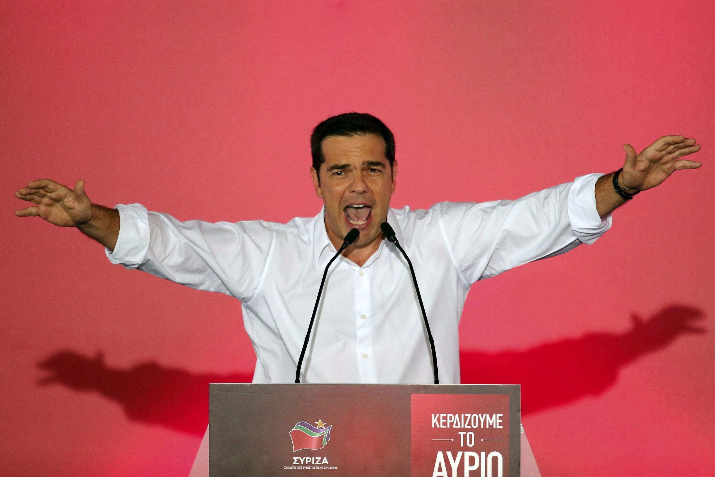 Alexis Tsipras a tenté de galvaniser la foule le 18 septembre 2015 à Athènes, soit deux jours avant son élection hier.