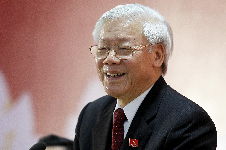 Ông Nguyễn Phú Trọng họp báo ngày 28/01/2016 sau khi bế mạc Đại hội Đảng.