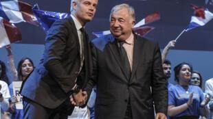 Le président du parti Les Républicains Laurent Wauquiez et le président du Sénat, Gérard Larcher, en meeting pour les élections européennes à Paris, le 15 mai dernier.