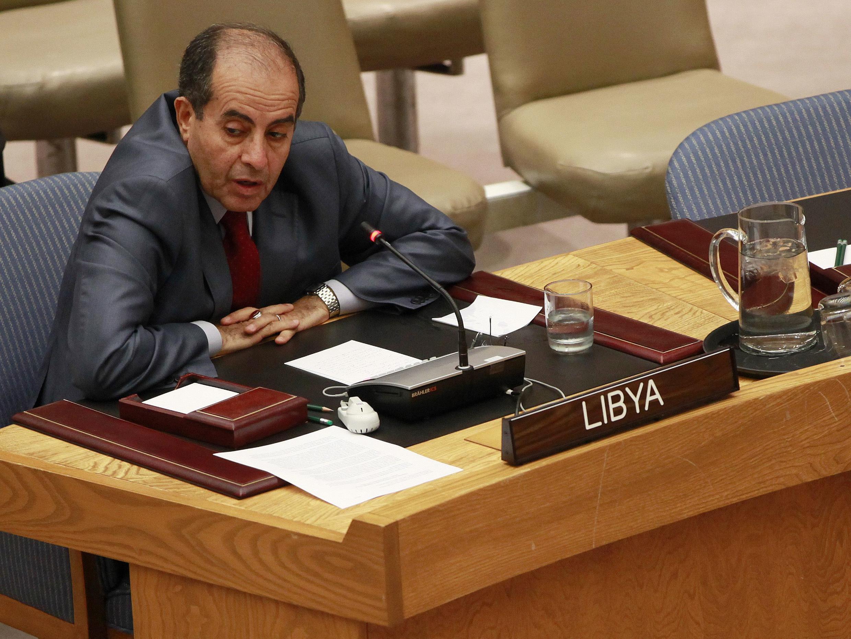 Махмуд Джибриль, премьер-министр Национального переходного совета Ливии, выступает перед Советом безопасности ООН. Нью-Йорк 26/09/2011