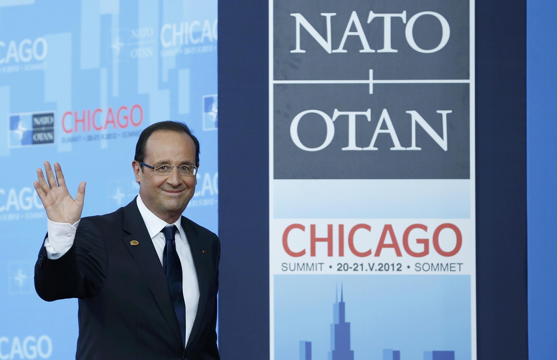 François Hollande à son arrivée au sommet de l'Otan à Chicago, dimanche 20 mai 2012.