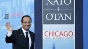 François Hollande à son arrivée au sommet de l'Otan à Chicago, le 20 mai 2012.