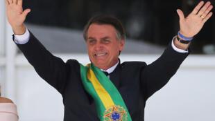 Le nouveau président du Brésil, Jair Bolsonaro, au Palais Planalto, à Brasilia, au Brésil, le 1er janvier 2019.