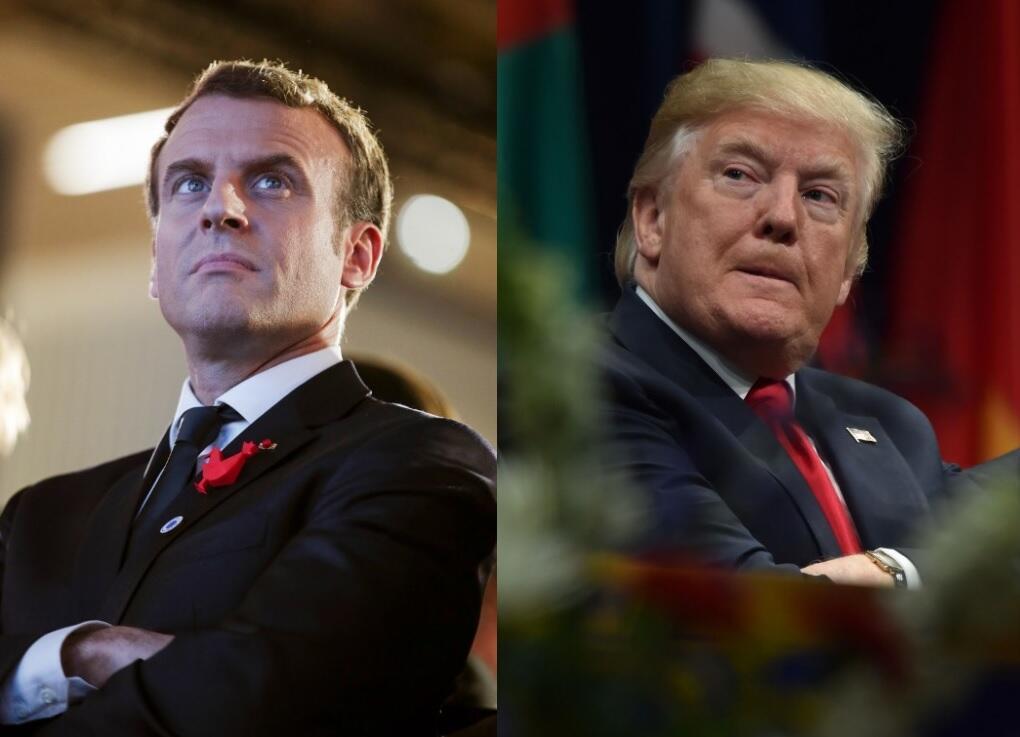 Emmanuel Macron, presidente de França, e Donald Trump, presidente dos Estados Unidos.