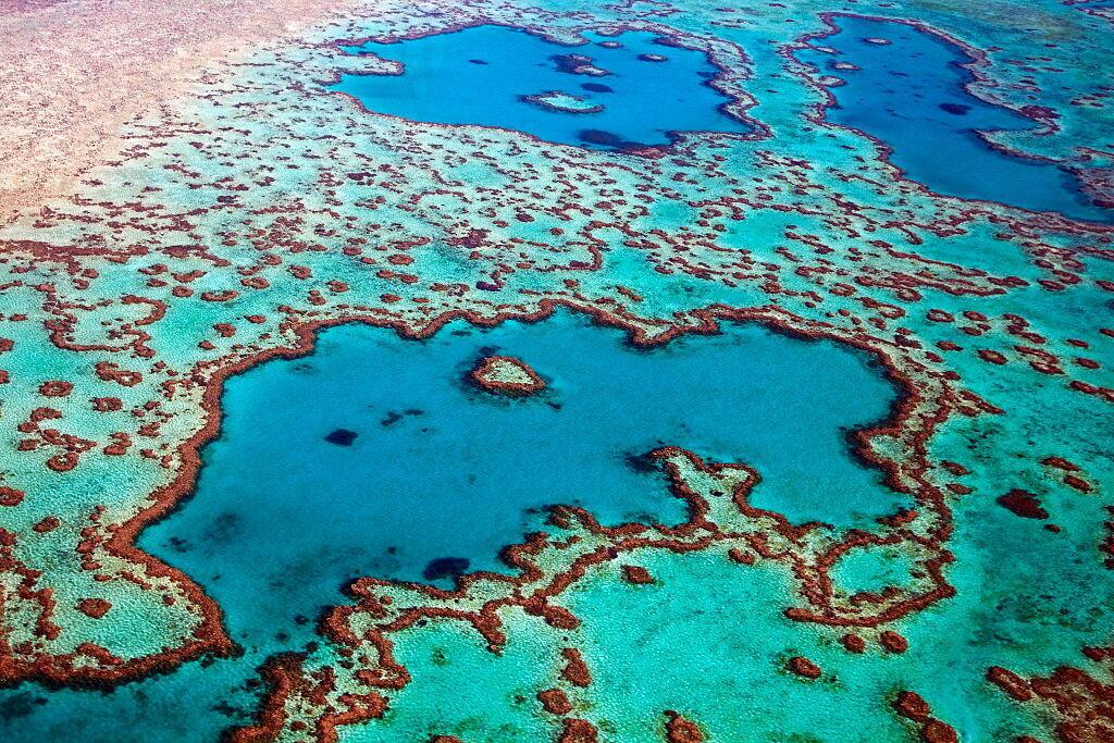 A Grande Barreira de coral, na Austrália, é um dos patrimônios ameaçados pelas mudanças climáticas