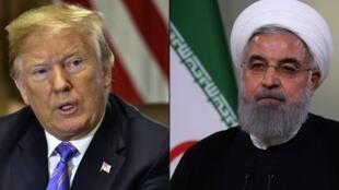 Rais wa Marekani Donald Trump Julai 18, 2018 huko Washington (kushoto), rais wa Iran Hassan Rohani (kulia) wakati wa hotuba kwenye runinga Mei 2, 2018 huko Tehran.