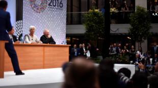 FMI总干事拉加德,德国财长在华盛顿世银与FMI年会上回答提问。