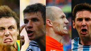 Le Brésilien David Luiz, l'Allemand Thomas Müller, le Néerlandais Arjen Robben et l'Argentin Lionel Messi (de gauche à droite).
