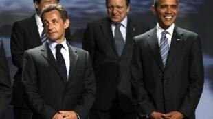 France's  Nicolas Sarkozy, Japan's Naoto Kan, European Commission Jose Manuel Barroso with US President Barack Obama at the G8