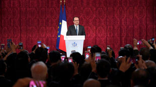 French President François Hollande addresses members of the Asian community to mark the festivities of the Lunar New Yea