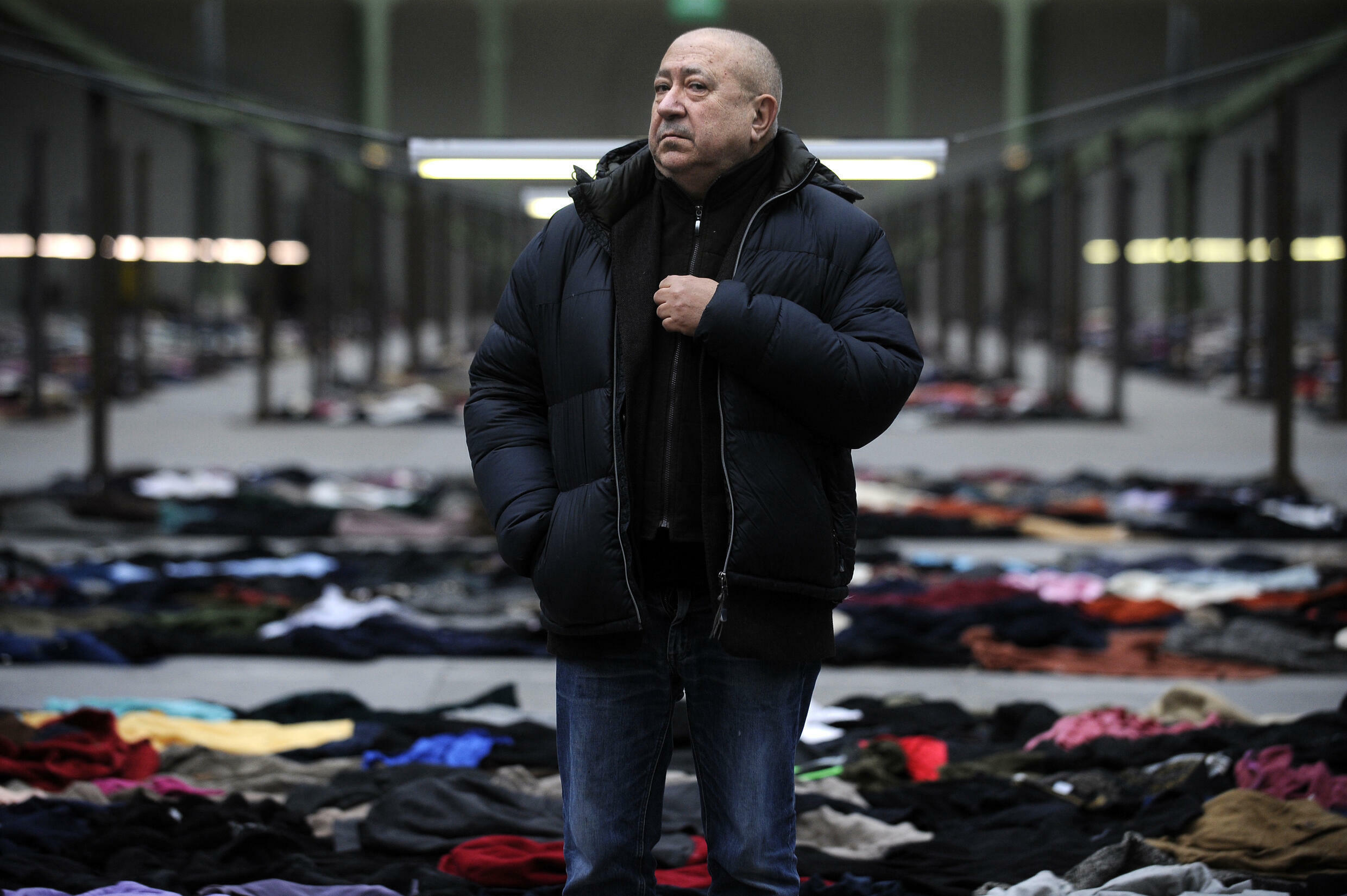"""In """"Personnes"""" in 2010, Boltanski presented visitors to the Grand Palais in Paris with piles of clothes and switched off the heating in the vast building, a meditation on the Nazi death camps"""