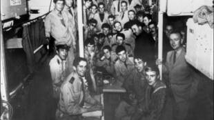 L'équipage du sous-marin français «La Minerve», dans une photo datant de 1965. «La Minerve» a disparu en 1968 avec 52 hommes à bord. Un demi-siècle après, l'épave du sous-marin a été retrouvée au large de Toulon, le 21 juillet 2019.