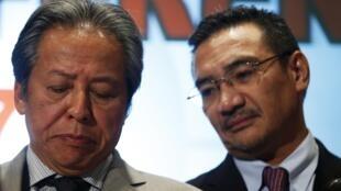 2014年3月18日,马里西亚交通部长和外长在吉隆坡出席新闻发布会。