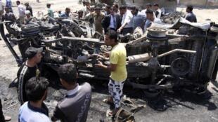 Tras la explosión de una bomba en Kerbala, este 29 de abril de 2013.