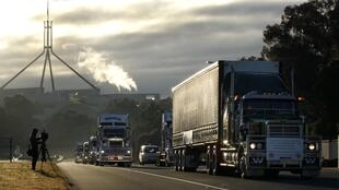 A convoy of trucks protesting against the Australian government's proposed carbon tax