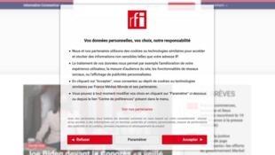 L'écran vu par les internautes de RFI est une obligation prescrite par la directive européenne du RGPD.