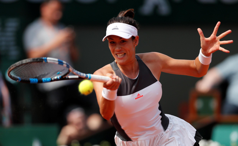 Spanish tennis player Garbine Muguruza competing at Roland Garros in Paris in 2017.