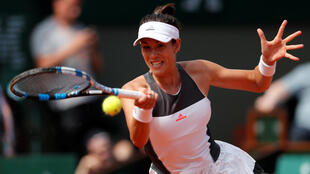 Spanish tennis player Garbine Muguruza competing at Roland Garros in Paris in 2017.