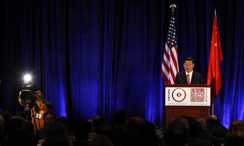 Phó Chủ tịch Trung Quốc Tập Cận Bình đọc diễn văn tại Washington ngày 15/02/2012.