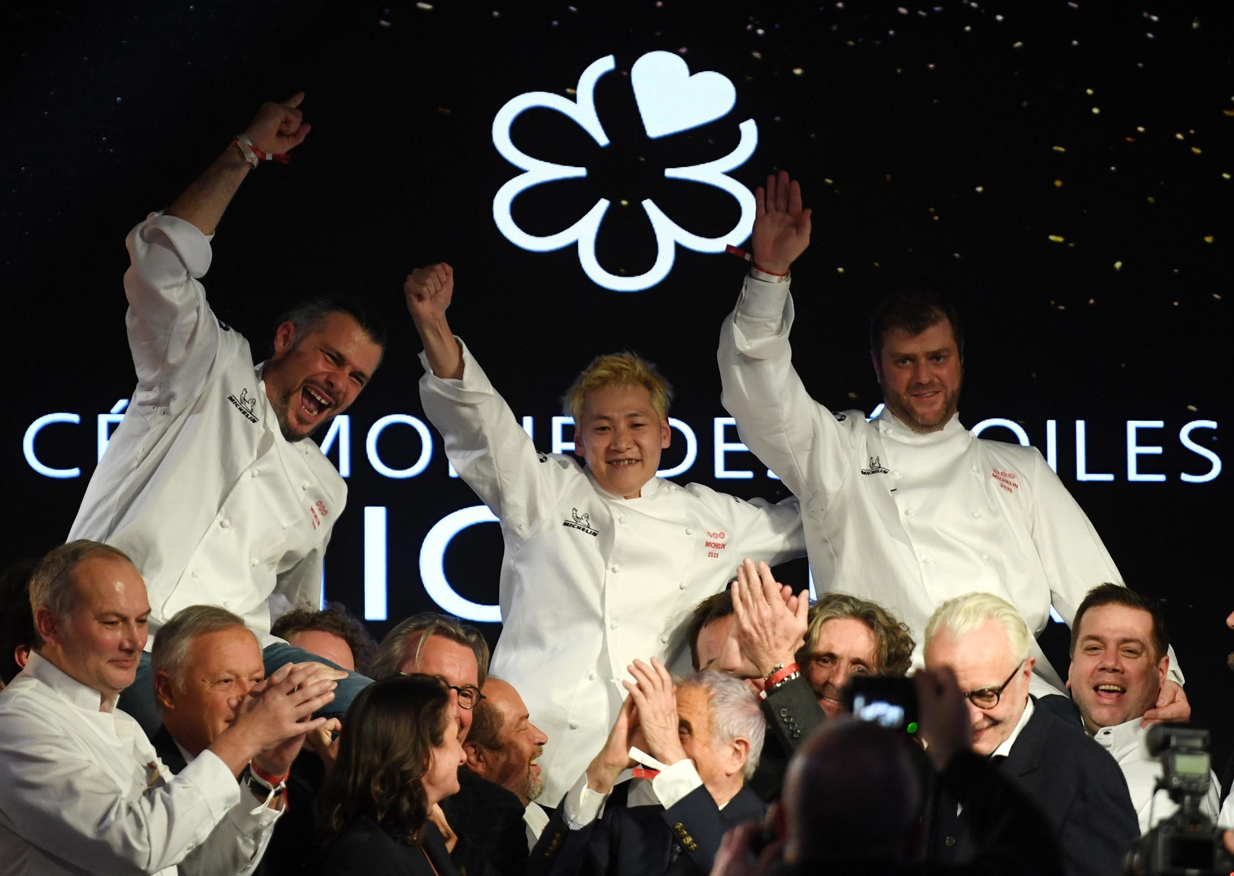 Glenn Viel (left), Kei Kobayashi and Christopher Coutanceau (right) were awarded three stars - Michelin's highest accolade - for the first time.