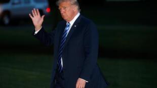 Donald Trump, dans les jardins de la Maison Blanche, le 13 août 2018.