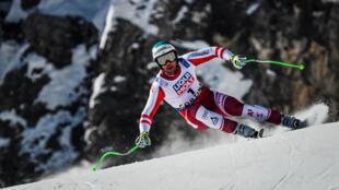 L'Autrichien Vincent Kriechmayr, lors de la descente des Championnats du monde, le 14 février 2021 à Cortina d'Ampezzo (Italie)